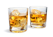 Two Whiskey Glasses Isolated on White   More like this
