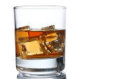 Whiskey with ice in a glass isolated on a white background