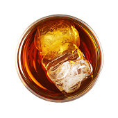 whiskey glass with ice isolated on white background - top view