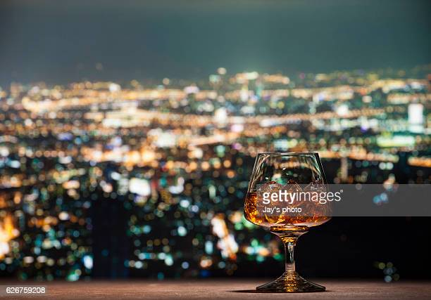 Whisky in city abstract background