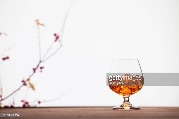 Whisky in nature background