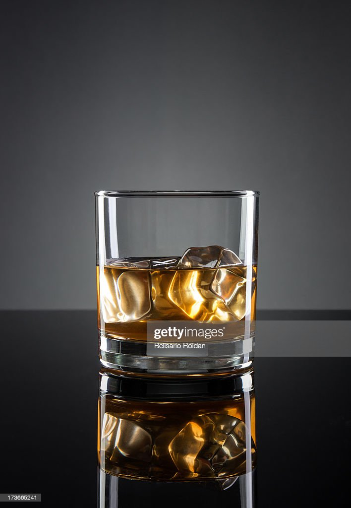 Whisky on gray background