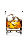 Whisky with Ice Cubes Isolated on White Background.