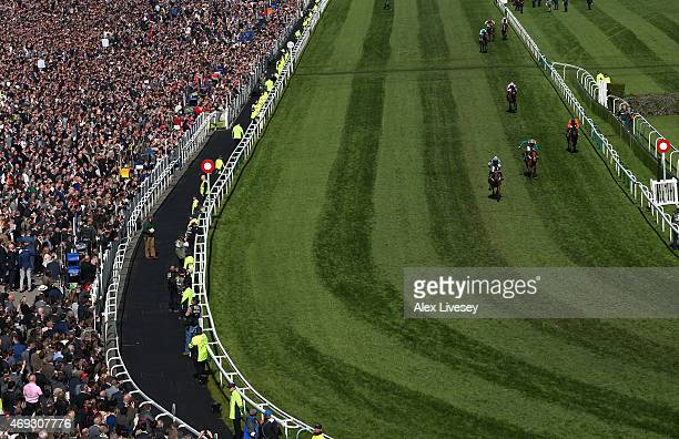 Whisper ridden by Nico de Boinville wins the Silver Cross Stayers' Hurdle Race during the 2015 Crabbie's Grand National at Aintree Racecourse on...
