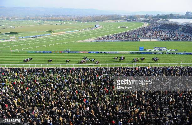 Whisper with Nico de Boinville on board on their way to victory in the Coral Cup during Ladies Day at Cheltenham Festival at Cheltenham Racecourse on...