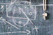 whistle of a soccer or football referee or trainer on black board with tactical diagram