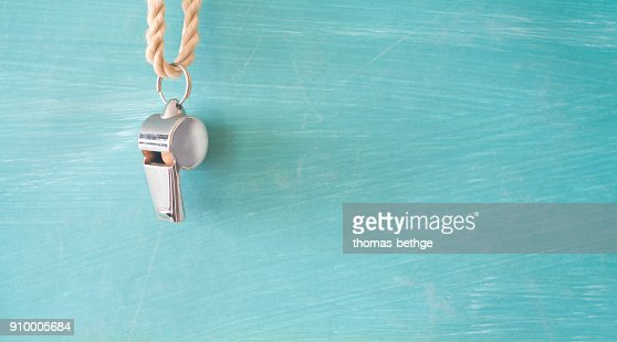 whistle of a soccer referee or coach : Stock Photo
