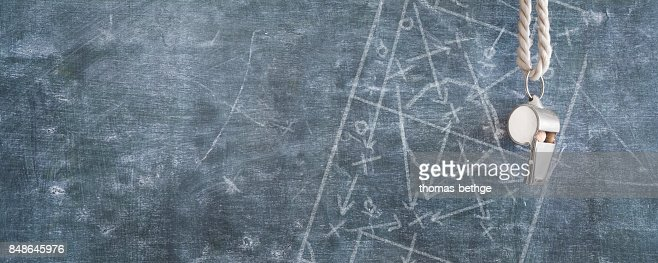 whistle of a soccer referee / Trainer, free copy space, : Stock Photo