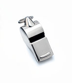 """referee whistle on white.""""nisolated metal Whistle, sport concept"""