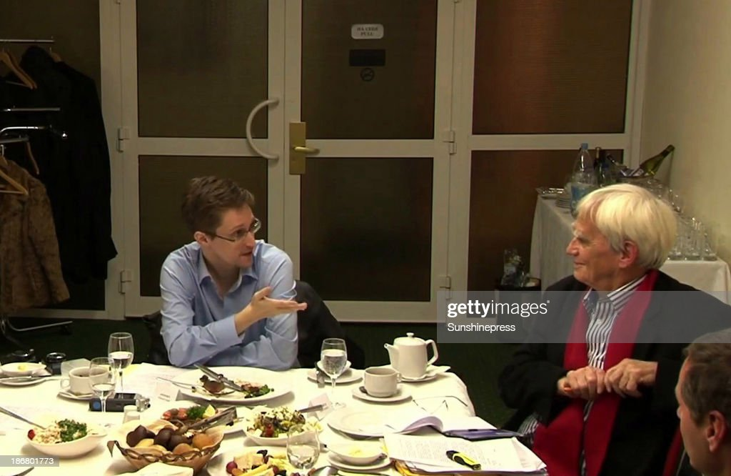 NSA whistleblower <a gi-track='captionPersonalityLinkClicked' href=/galleries/search?phrase=Edward+Snowden&family=editorial&specificpeople=10983676 ng-click='$event.stopPropagation()'>Edward Snowden</a> (L) during a meeting with German Green Party MP Hans-Christian Stroebele regarding being a witness for a possible investigation into NSA spying in Germany, on October 31, 2013 in Moscow, Russia. There has been calls in Germany for an investigation into alledged US spying in Germany, which reportedly could include the tapping of German chancellor Angela Merkels phone.