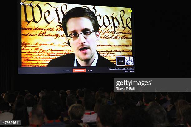 NSA whistleblower Edward Snowden speaks via videoconference at 'A Virtual Conversation with Edward Snowden' during the 2014 SXSW Music Film...
