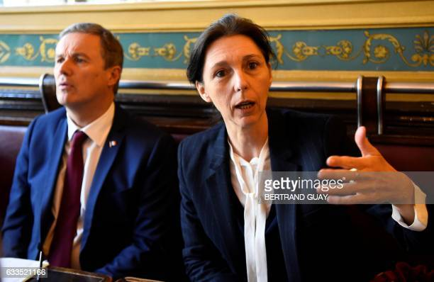Whistleblower Stephanie Gibaud a former employee of banking group UBS gives a press conference next to rightwing independent presidential candidate...