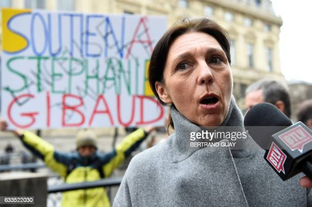 Whistleblower Stephanie Gibaud a former employee of banking group UBS answers journalists' questions prior to her trial for defamation on February 2...