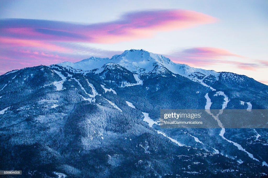 Whistler mountain at dusk. : Stock Photo