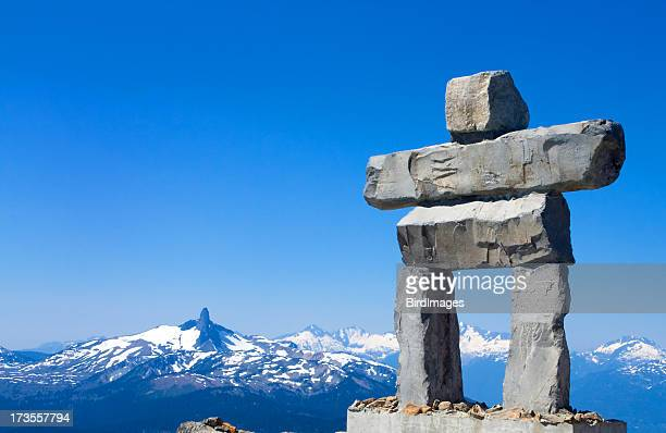 Whistler mountain sculpture in inukshuk