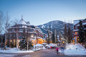 Whistler's world class pedestrian village at dusk.  Whistler is one of the most popular ski resorts in the world.
