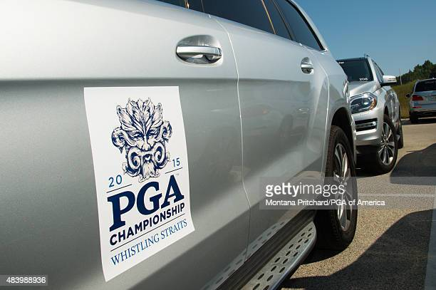 Whistling Straits logo on MercedesBenz sponsor vehicles during Round Two at the 97th PGA Championship at Whistling Straits on August 14 2015 in...