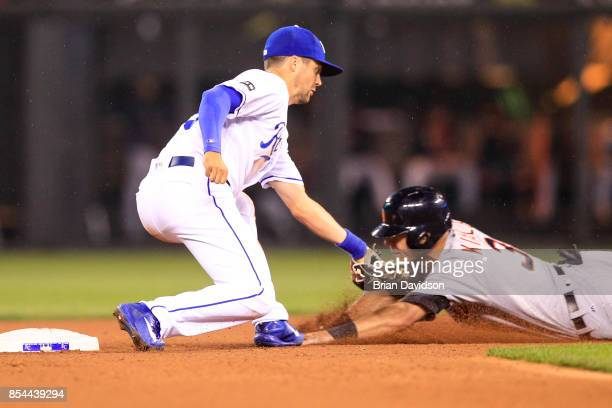 Whit Merrifield of the Kansas City Royals tags out Ian Kinsler of the Detroit Tigers during the sixth inning at Kauffman Stadium on September 26 2017...