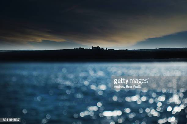Whitby Abbey on the coastline viewed from the sea