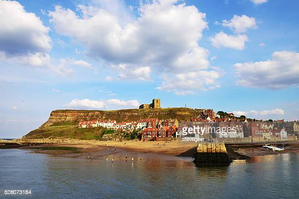 Whitby  harbour entrance, townscape  and beach