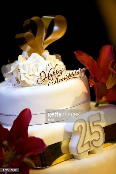 A white 25 year anniversary cake