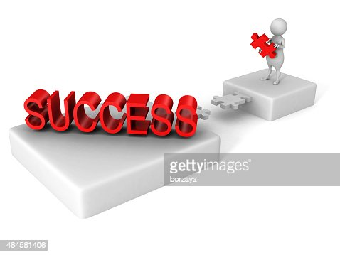 white 3d man puzzle bridge to SUCCESS red word : Stock Photo