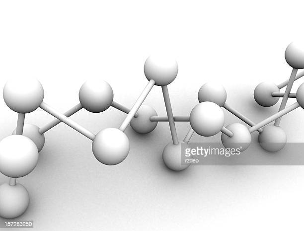 White 3D molecule on white background