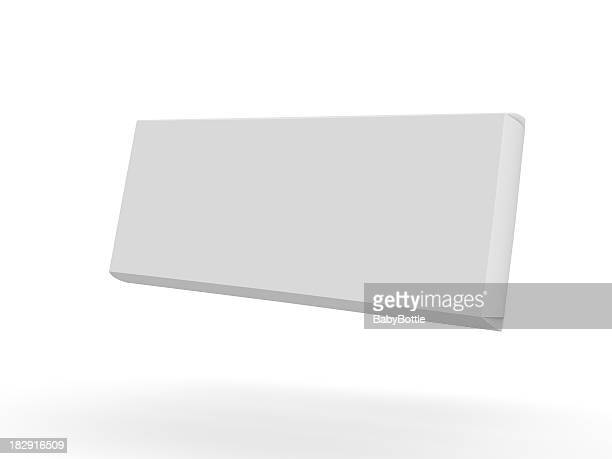 White 3D rendering of a floating chocolate bar