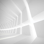 White abstract empty futuristic corridor interior with light portals. 3d illustration