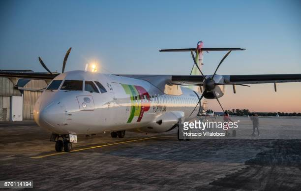 White Airways ATR 72'u2013600 airplane the company flies for TAP Express sits in Evora Municipal airport tarmac during the first day of a tour of the...