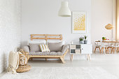 White, beige and gold in living room