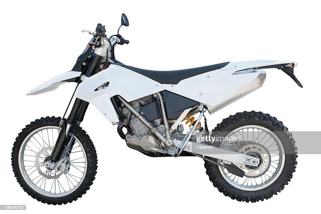 White and black dirt bike over a white backgound