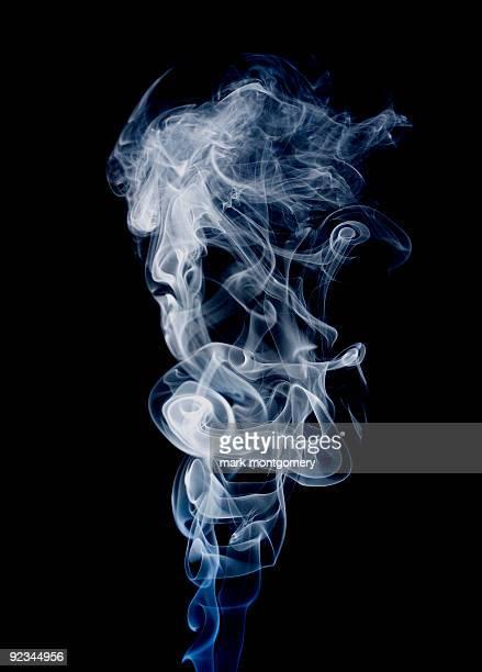 White and blue smoke