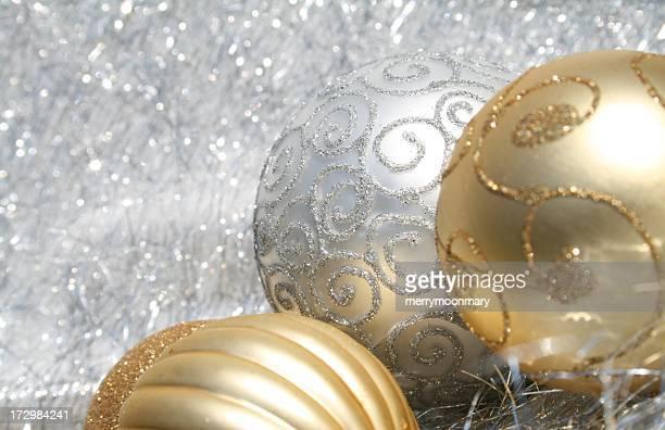 Frontière de Noël blanc et or