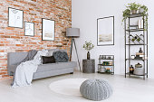 White and gray living room with knit pouf, round rug and modern, metal lamp