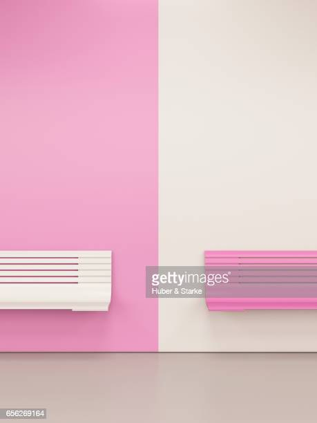 white and pink bench at colourful wall