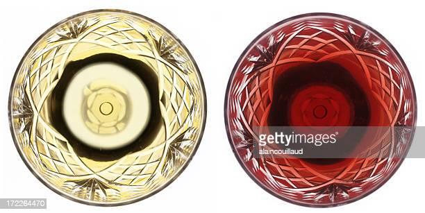 Verre à vin rouge et de vin blanc du dessus