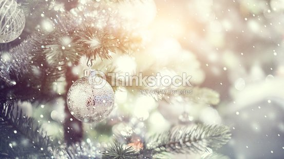 d1c8ce44325e3 White and silver bauble hanging from a decorated Christmas tree with  background.   Stock Photo
