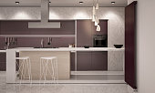 White and Violet Colors Contemporary Kitchen with Bar Countertop Camera  2 Evening