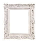 White antique picture frame isolated on white.