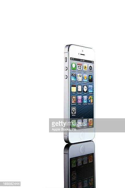 This image has been digitally manipulated A white Apple iPhone 5 smartphone taken on October 24 2012