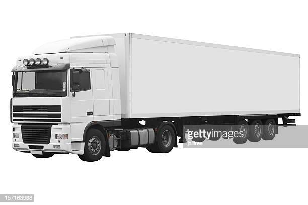 White articulated truck on a white background with path