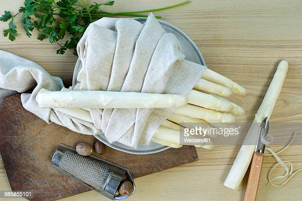 White asparagus wrapped in cloth