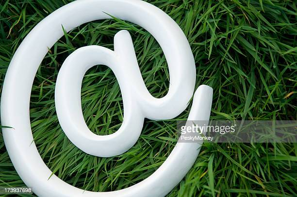 White @ At Sign Symbol Green Grass