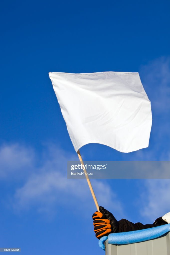 White Auto Race Flag against a Blue Sky : Stock Photo