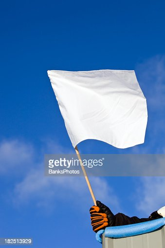 White Auto Race Flag against a Blue Sky