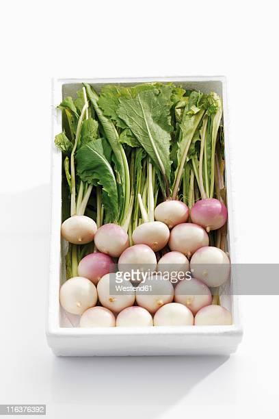 white baby turnips in tray