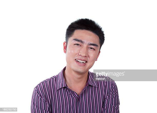 White background Happy Asian business man laughing
