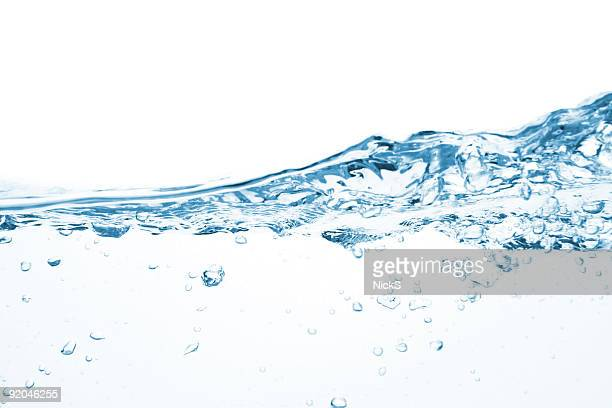 A white background with moving water and bubbles