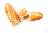 White baguette pieces on a white background